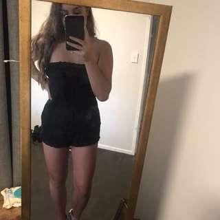 Black strapless playsuit