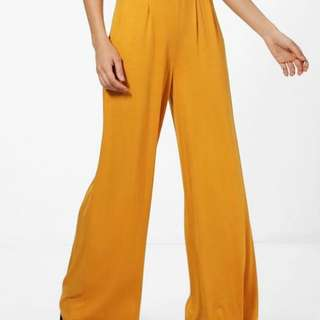 BOOHOO MUSTARD WIDE LEGGED PANTS
