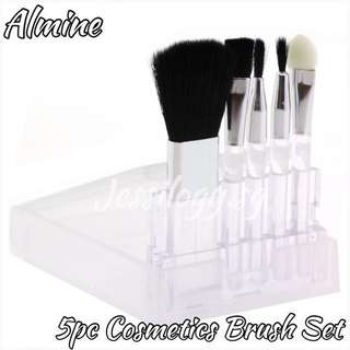 INSTOCK Almine Mini 5PC Cosmetic Brush Travel Set / Almine Travel Cosmetic Brushes with Case