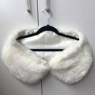 Forever New White Faux Fur Scarf