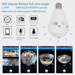 Panoramic Camera Light Bulb Wifi CCTV