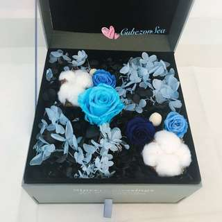 Special gift for Any Occasion! Preserved Roses Flower in Jewellery Box•Blue combi•