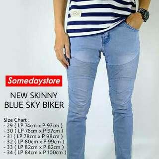 Celana Jeans Skinny Blue Sky Biker Premium Quality Soft Jeans Stretch Keren
