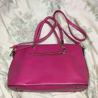 Pink leather two way bag (shoulder and body bag)