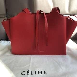 Celine trifold tri fold small red handbag