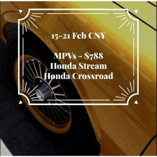 15-21Feb CNY Promotion Honda Stream/Crossroad at $728