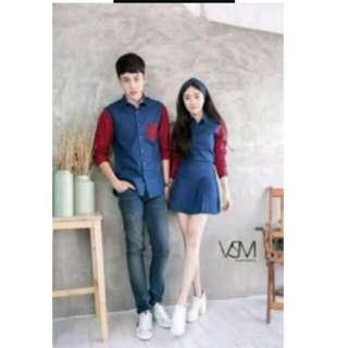 Baju couple / girl dress terusan / boy kemeja