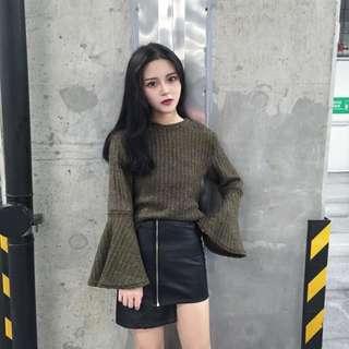 秋款 韓國 純色 百搭 圓領 套頭 開衩 寬鬆 顯瘦 打底 長袖 上衣 毛衣 冷衫 氣質