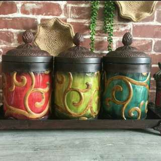 Antique Colorful Metal Canister