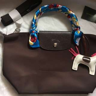 Authentic longchamp neo chocolate brown small