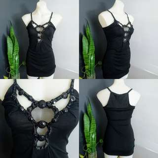Women's size XS (8-10) Stunning black racer back long top with Gorgeous neckline