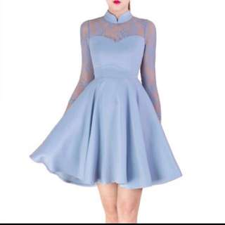 Doublewoot Dress dovertisa powder blue manderin collar dress