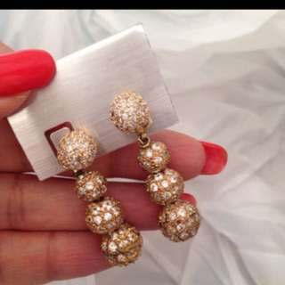 18K Gold plated Swarovski crystal ball chandelier earrings