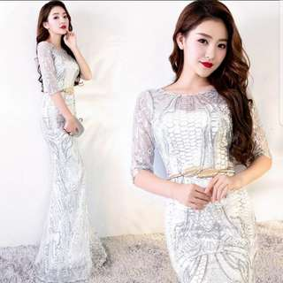 Sliver 3/4 sleeve mermaid dress / evening gown