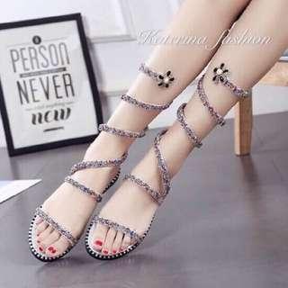 Sexy Leg Wrap Flat Sandals
