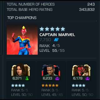 MCOC 343k hero rating account for selling