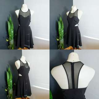 Women's Size 10 Stunning Black racer back cocktail dress with peek a boo sides- AS NEW