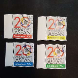 4 set of Singapore stamps.