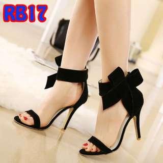 Sandal Pita Ribbon Samping Tinggi 9cm Premium Murah (RB17 Merah&Hitam)