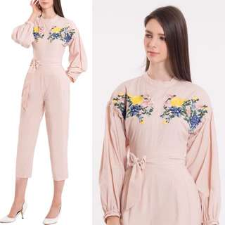 Embroidery Jumpsuit Blush