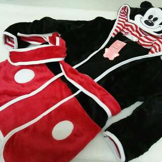 Mickey Mouse Bathrobe Red/Wht SMLXL