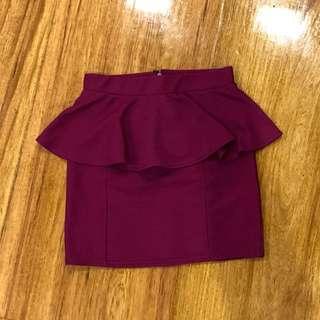 Fuchsia peplum skirt