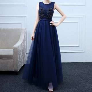 Navy crystal dress / Evening Gown