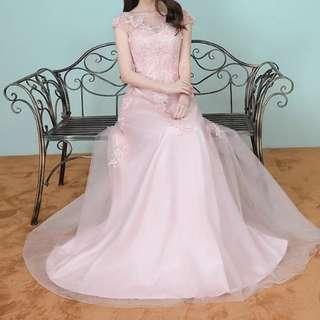 pink floral Dress / evening gown