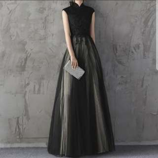 Dual tone qipao design black dress / Evening Gown