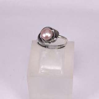天然粉橙色淡水珍珠純銀戒指
