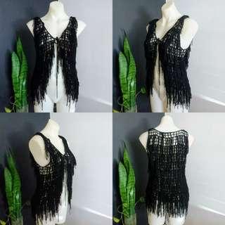 Women's size 8 (8-10) 'PAPER HEART' Gorgeous black tassels Cardigan Vest As NEW