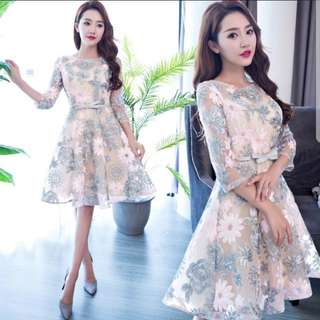 Dual tone floral Dress / evening gown