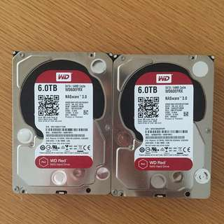 WD RED 6TB HD Hard Drive 5400rpm x 2