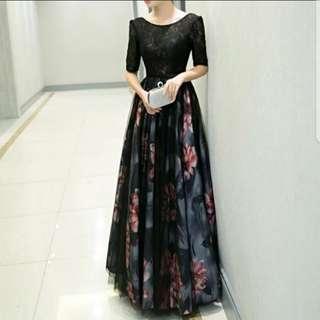 Black floral Dress / evening gown