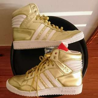 Men's size US 8.5 'ADIDAS' gold high tops brand new purchased in EUROPE - no box