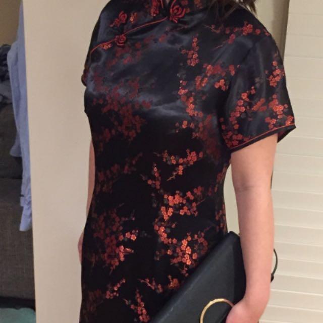 100% silk Chinese Cheongsam Dress