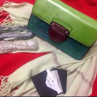 Authenthic Prada patent leather color block clutch with Cashmere wool scarf in pastel green