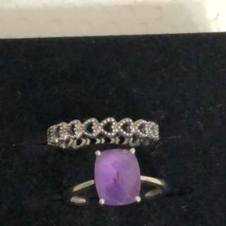 Authentic Pandora ring & white gold with purple sapphire.