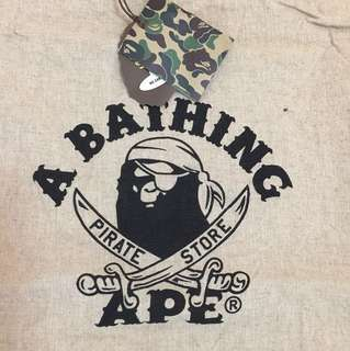 Bathing ape 日本pirate麻包袋