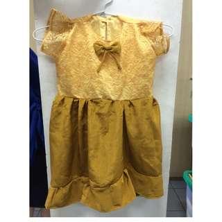 Dress Anak warna GOLD Pita