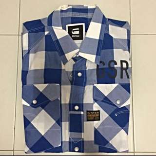 G-Star Raw Blue White Checkered Long Sleeves Shirt Size S