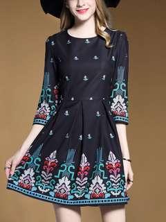 Retro Fashion Floral Mid-Sleeve A-Line Dress - ON/YZC121223