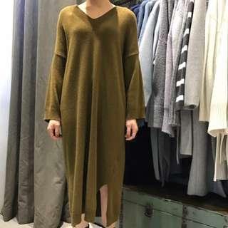 KOREA 芥末黃羊毛長版洋裝