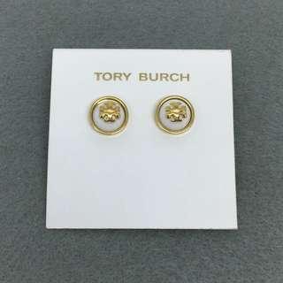 Tory Burch Sample Earrings 白色配金色半圓球型耳環