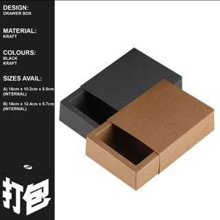 Kraft Drawer Gift Box Black Kraft