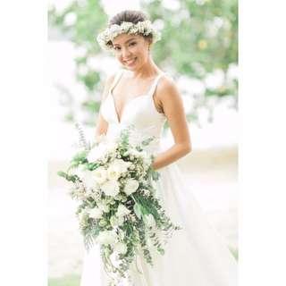 Garden Beach Wedding Simple Beaded Spaghetti Horsehair Braid Dress Gown