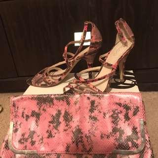 Aldo set of pink snake leather