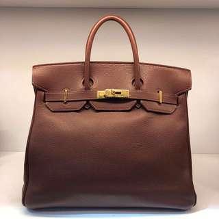 正品 85%新 Hermes HAC32 朱古力色金扣手挽袋