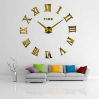 Elegant Giant Wall Clock Acrylic 80 - 130cm - Golden