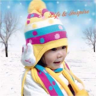 🚚 特價出清 兒童可愛針織雙層帽 小兔子護耳帽+圍巾兩件套組